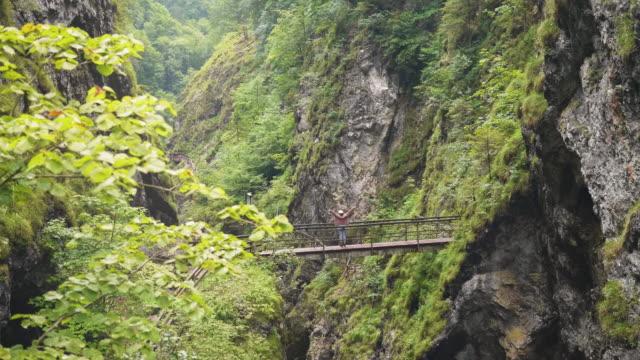 SalzburgerLand Österreich, junge Frau, die auf alten rostigen Brücke jubeln – Video