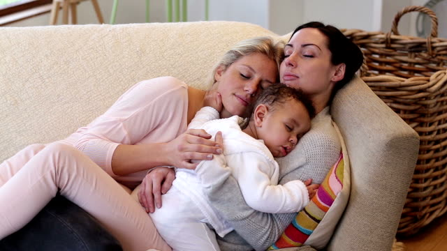Same sex couple asleep with son video