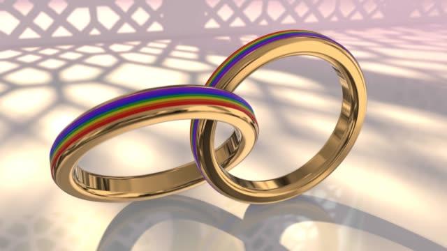 vídeos de stock, filmes e b-roll de do mesmo sexo casamento casal gay do orgulho lgbt anéis de casamento 3d render - cisgênero
