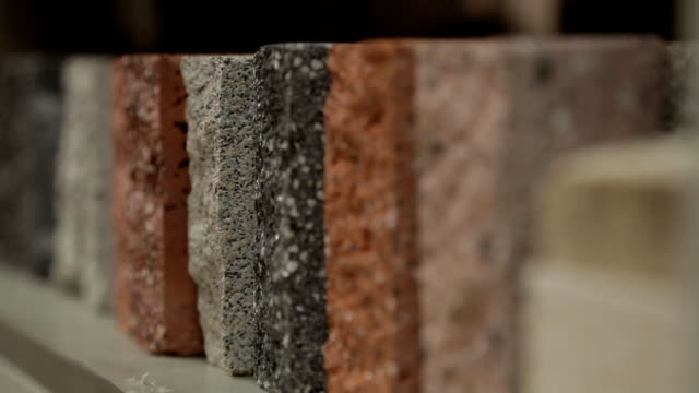 Samples of concrete differ in color video