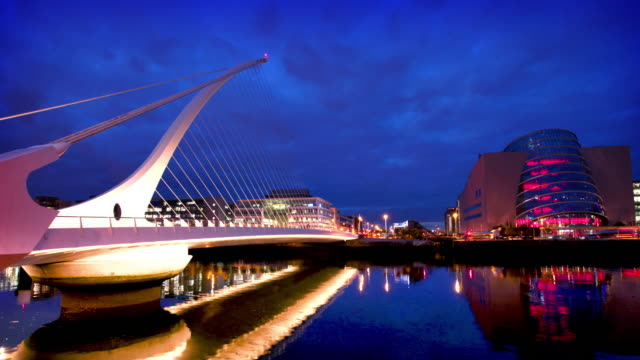 Samuel Beckett Bridge at Dusk, Dublin, Ireland video