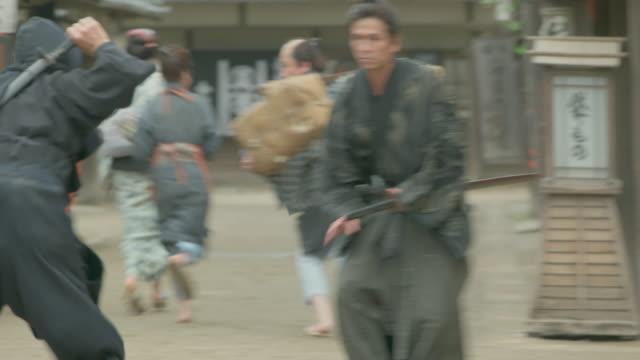 Samurai and Ninja. Japanese retro town. Samurai and Ninja. Japanese retro town. ninja stock videos & royalty-free footage