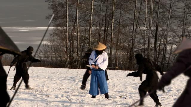 samurai fight samurai fighting with ninjas ninja stock videos & royalty-free footage