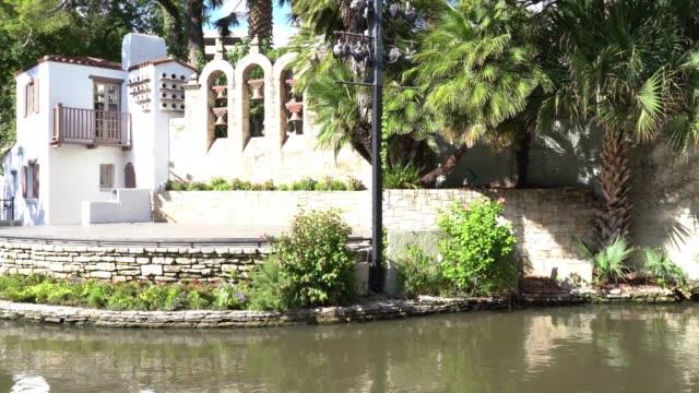 san antonio river walk theater side view panning video - san antonio texas stock videos & royalty-free footage