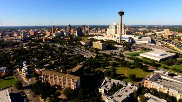san antonio skyline aerial panoramic south central texas - san antonio texas stock videos & royalty-free footage