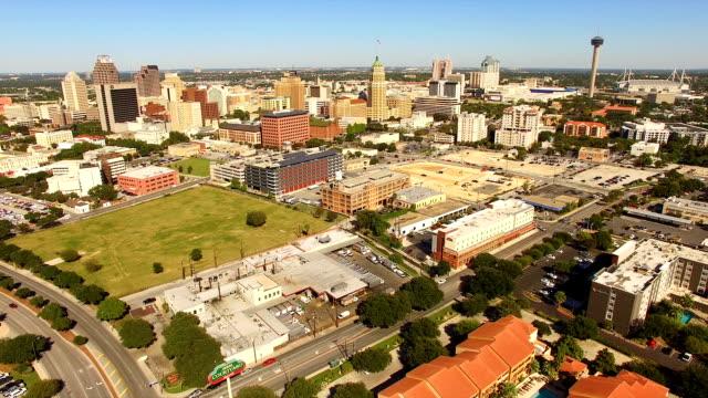 san antonio skyline wide panoramic south cantral texas - san antonio texas stock videos & royalty-free footage