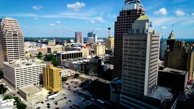 san antonio texas skyline cityscape with space needle - san antonio texas stock videos & royalty-free footage
