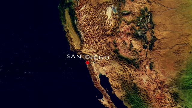 San Diego 4K  Zoom In Zoom to geographic earth from space 4K Resolution animation california map stock videos & royalty-free footage