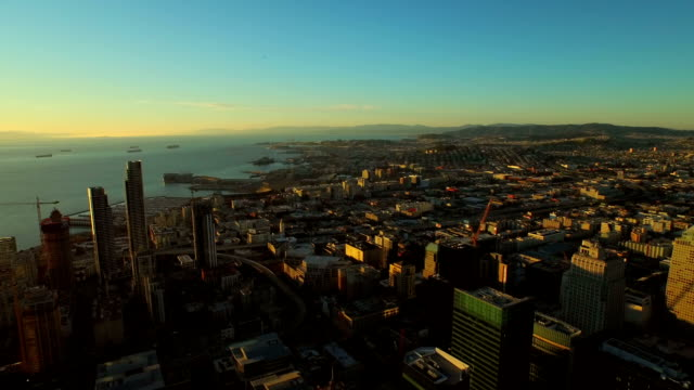 San Francisco Aerial v28 Flying over downtown at sunrise. south stock videos & royalty-free footage