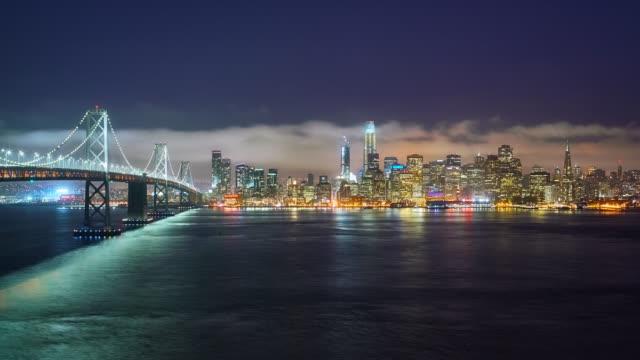 san francisco and oakland bay bridge - city skylines stock videos & royalty-free footage