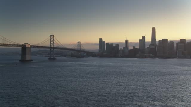 San Francisco and the Bay Bridge at Sunset - Drone Shot video