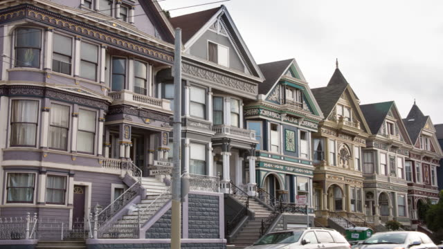 san francisco architecture on haight street - victorian architecture stock videos & royalty-free footage