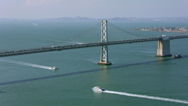 AERIAL San Francisco Bay in sunshine