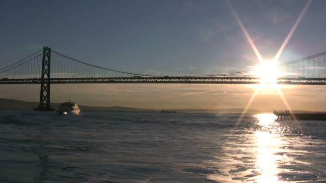 (HD1080i) San Francisco: Boat Under Bay Bridge -Time Lapse- video