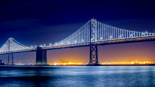 san francisco, ca: bay bridge - sehenswürdigkeit stock-videos und b-roll-filmmaterial