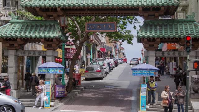 stockvideo's en b-roll-footage met san francisco chinatown - boog architectonisch element