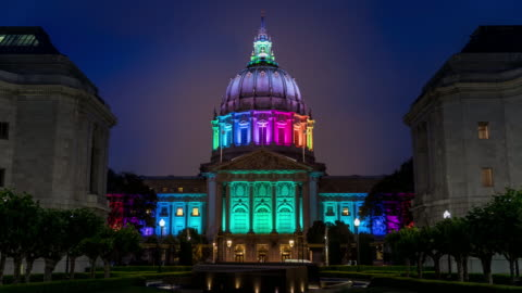 San Francisco City Hall Rainbow Pride Colors High quality 4k resolution stock time lapse video of San Francisco City Hall during  pride week in San Francisco California, lit up with rainbow colors. pride stock videos & royalty-free footage