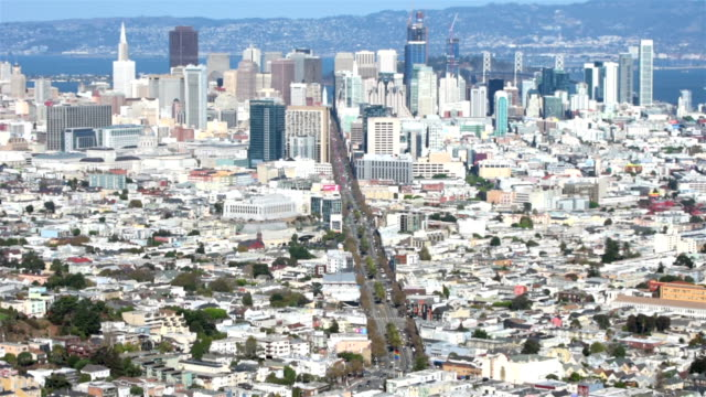 San Francisco downtown aerial view video