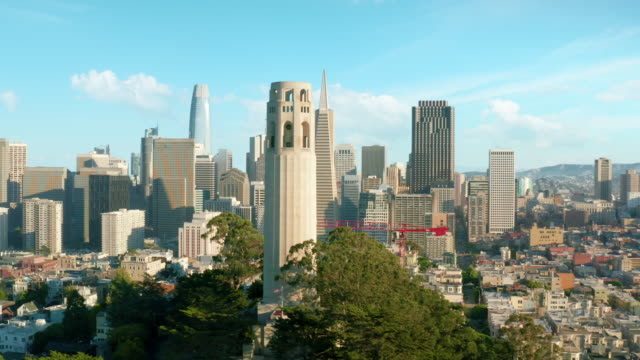 San Francisco  downtown financial district Shot of downtown San Francisco from Coit Tower oakland stock videos & royalty-free footage