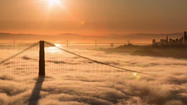 San Francisco Golden Gate Bridge Sunrise in Low Fog Morning Light