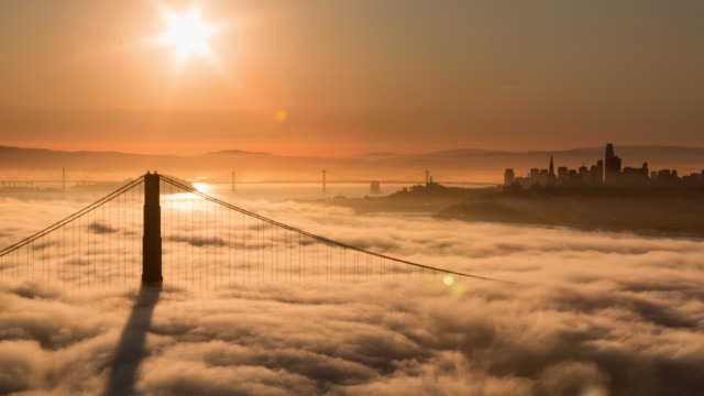 San Francisco Golden Gate Bridge Warm Sunrise