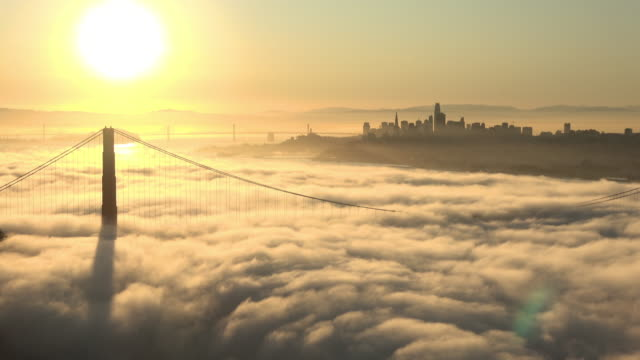 San Francisco Golden Gate Bridge Warm Sunrise with foghorn audio