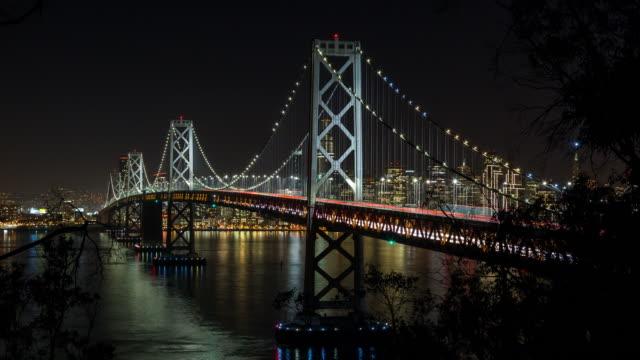San Francisco Oakland Bay Bridge at Night Timelapse video
