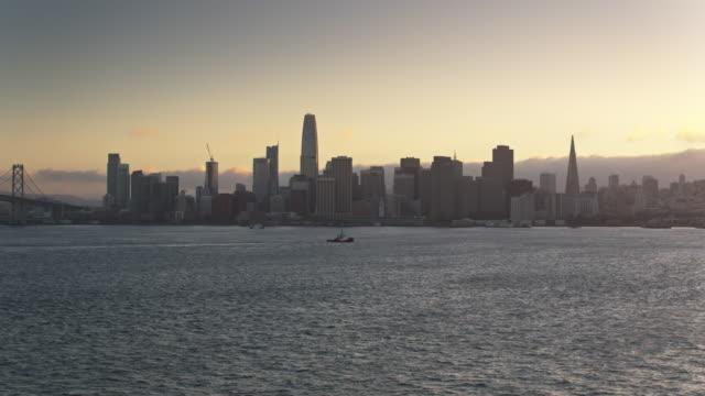 San Francisco Skyline From Yerba Buena Island at Dusk - Drone Shot video