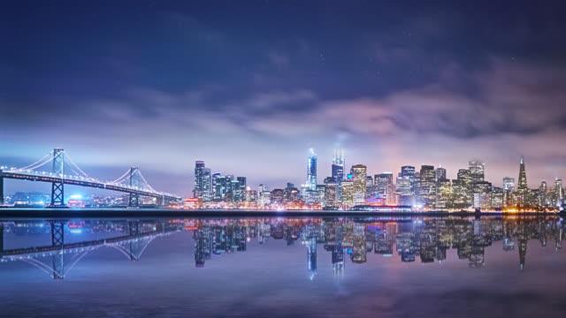 San Francisco Skyline in night time. Oakland Bay Bridge