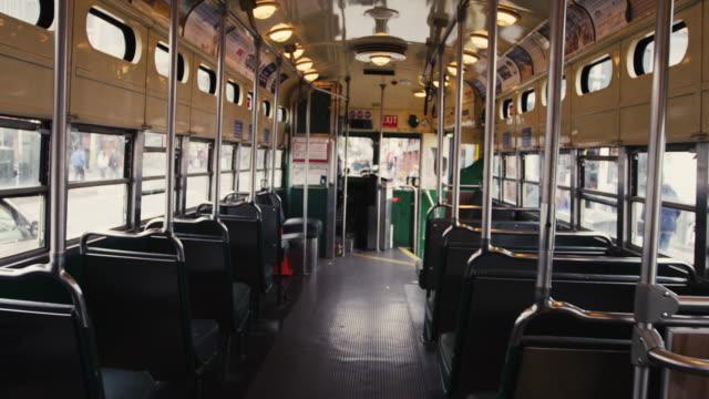 san francisco trolley interior - tranvia video stock e b–roll