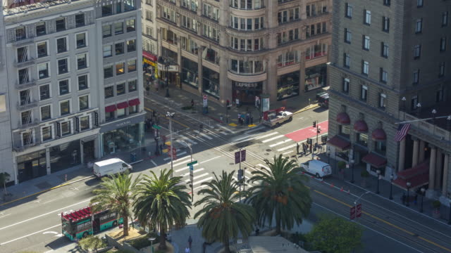 San Francisco Union Square Traffic Intersection Aerial Timelapse