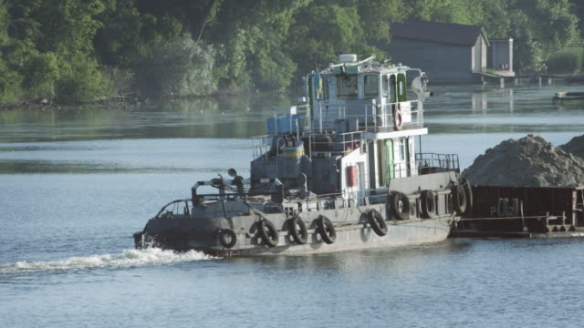 Sand barge on the river video