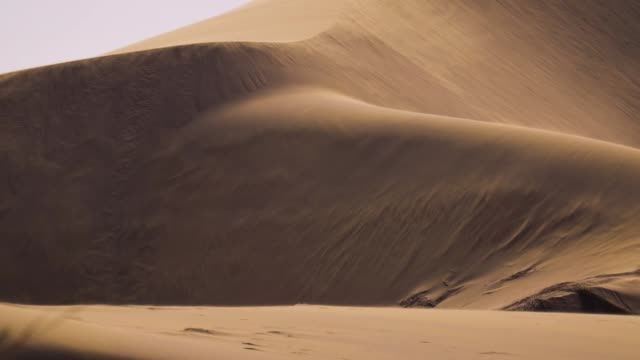 vídeos de stock e filmes b-roll de sand blowing over the dunes, slowmotion - paisagem árida