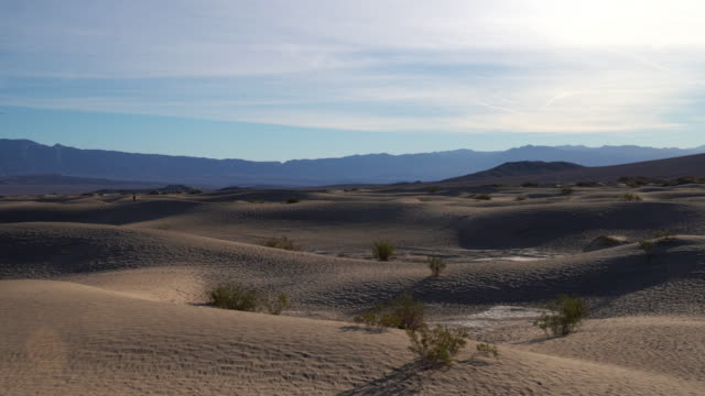 Sand dunes at Mesquite Flats, Death Valley, California. Panoramic camera motion.