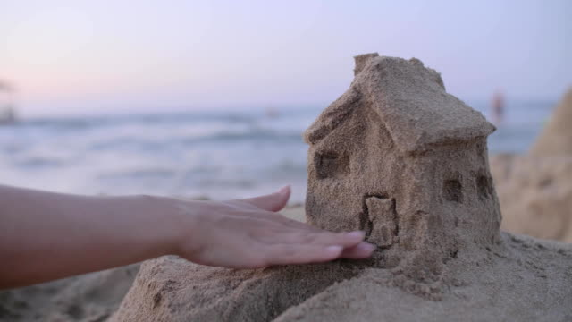 sand house model - proprietario d'immobili video stock e b–roll