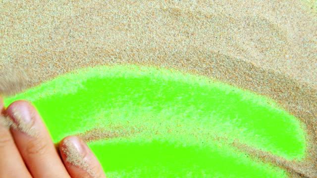 sand on a green screen - rama obrazu filmów i materiałów b-roll