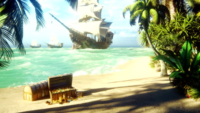 Sand, sea, sky, clouds, palm trees and a clear summer day. Pirate frigates docked near the island. Pirate island and chests of gold. Beautiful looped animation.
