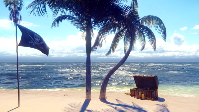Sand, sea, sky, clouds, palm trees and summer day. Pirate island, chest of gold and pirate flag fluttering in the wind. Beautiful loop background.