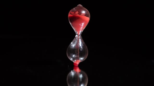 sand timer close up keeping time and falling over