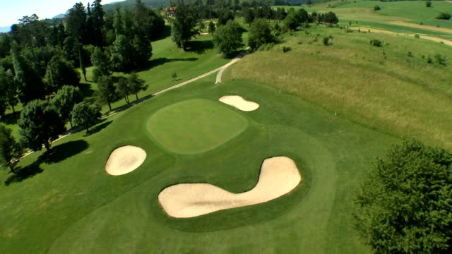 AERIAL Sand Traps On The Golf Course video