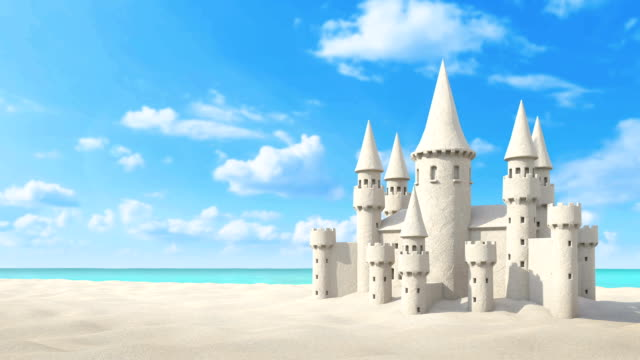 Sandcastle beach on bright sky. 3d rendering video