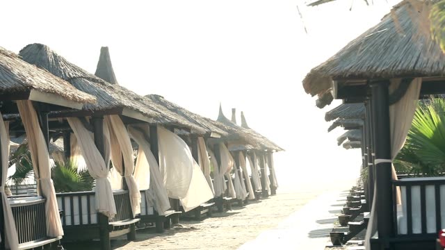 Sandy Beach With Thatched Umbrellas On A Windy Day, Beach umbrellas by the ocean video