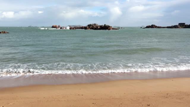 Sandy Spring Beach. Pink Granite Coast, France. video