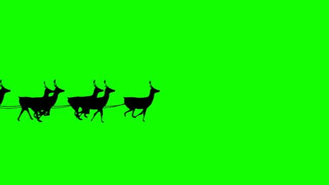 santa mit schlitten fliegen gegen green-screen-hintergrund endlos wiederholbar - weihnachtsmann stock-videos und b-roll-filmmaterial