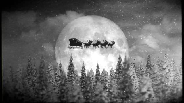 santa and reindeer with old film look - reindeer stock videos and b-roll footage
