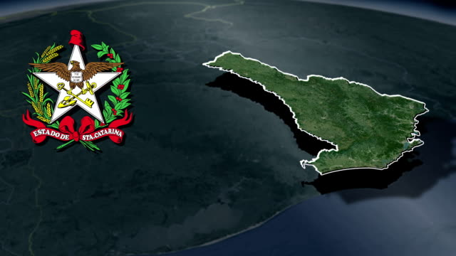 santa catarina vit vapensköld animation karta - brasilien flagga bildbanksvideor och videomaterial från bakom kulisserna