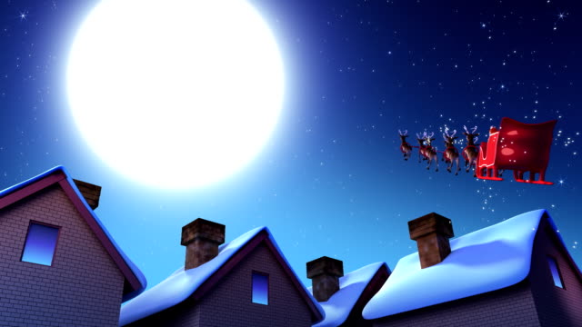 stockvideo's en b-roll-footage met santa claus and deers - schoorsteen