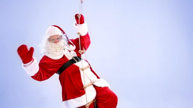 Santa Claus at rope ladder video