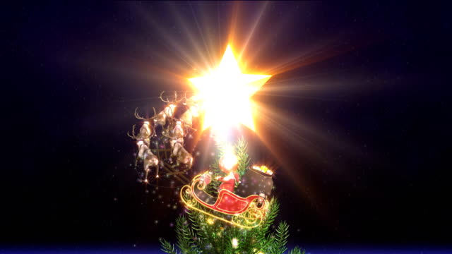 Santa Claus Christmas tree glowing 4K video