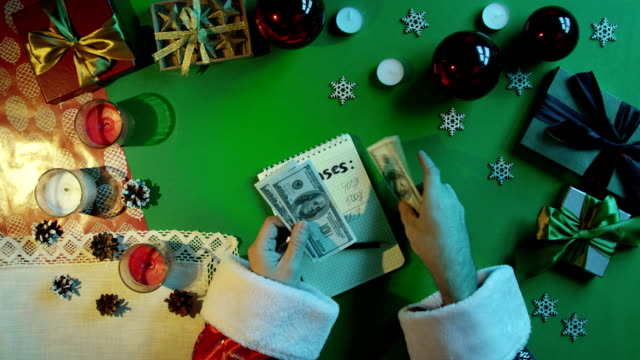 Santa Claus counting his money over notebook with expenses writings by New Year table with chroma key, top down shot video